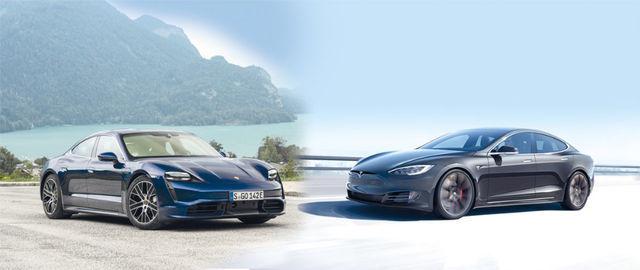 Tesla veab Porschega vägikaigast: Taycan Turbo (väiksel fotol) on oma kiirust tõestanud, Tesla kohta levib rohkelt mitteametlikku infot. Foto: Porsche ja Tesla